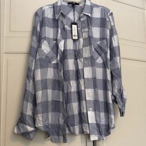 Romeo & Juliet Blue/White Plaid Top Size Small